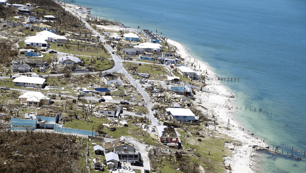 An aerial view shows damage after Hurricane Dorian to the Pelican Shores area of Marsh Harbour, Abaco, Bahamas. Photo by Jose Jimenez/Getty Images